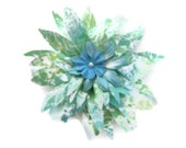 Hair Clip Mint Green Tropical Flower