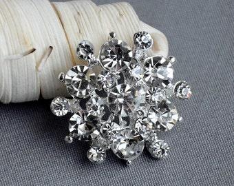 5 Large Rhinestone Button Embellishment Pearl Crystal Wedding Brooch Bouquet Invitation Cake Decoration Hair Comb Clip BT531