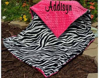 Zebra Baby Blanket  -Zebra Minky - Soft Hot Pink Minky - Personalized - Baby Girl - Multiple Sizes