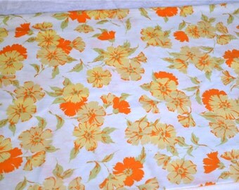 Vintage Pillowcases - Orange and Yellow Flowers - Standard Size Pair