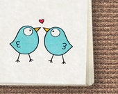 Printable Stationery, downloadable Notecards, Letters, Envelopes, Tags/Stickers - Turquoise Birds, love bords stationery set