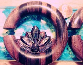 "Paua Inlay Lotus Hoop 5/8"" Ear Plugs"