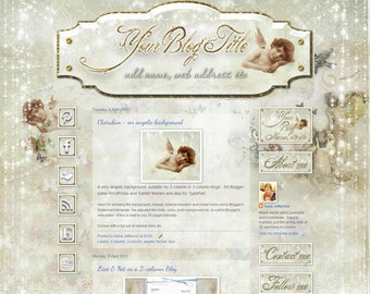 CHERUBIM - an angelic ready-made set of background, header, social media icons etc, to dress up your BLOGGER blog
