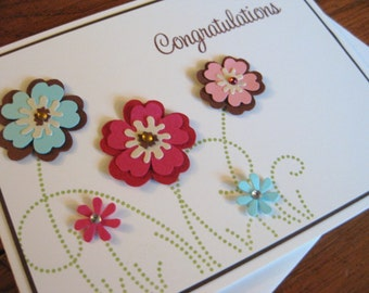 Congratulations with Paper Flowers - Handstamped Greeting Card
