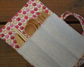 Reusable bamboo cutlery and roll up carrying pouch  - Unbleached cotton and apples