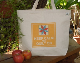 Natural cotton market tote - Keep calm and quilt on