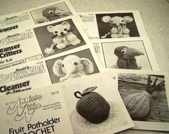 SALE Vintage Annie's Attic Pattern Club Cleanser Critters Crochet Patterns Lot