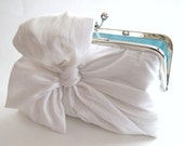 Silk Bow Ivory Clutch,Bridal Accessories,Bridal Clutch,Bridesmaid Clutch,Clutch Purse,Something Blue
