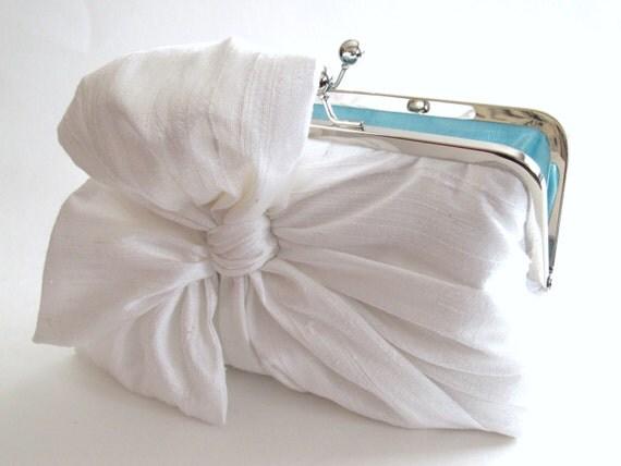 Silk Bow Ivory Clutch,Bridal Accessories,Bridal Clutch,Bridesmaid Clutch,Clutch Purse,Something Blue