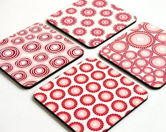 Drink coasters, Wooden coasters, Wood coaster, Drink coasters, Pink Purple Geometric set of four Modern unique drink coasters