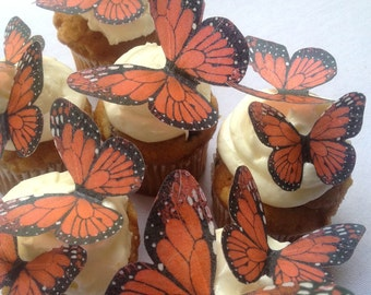 27 coral red monarch butterflies -  edible wedding favors -  cupcake edible toppers by Uniqdots on Etsy