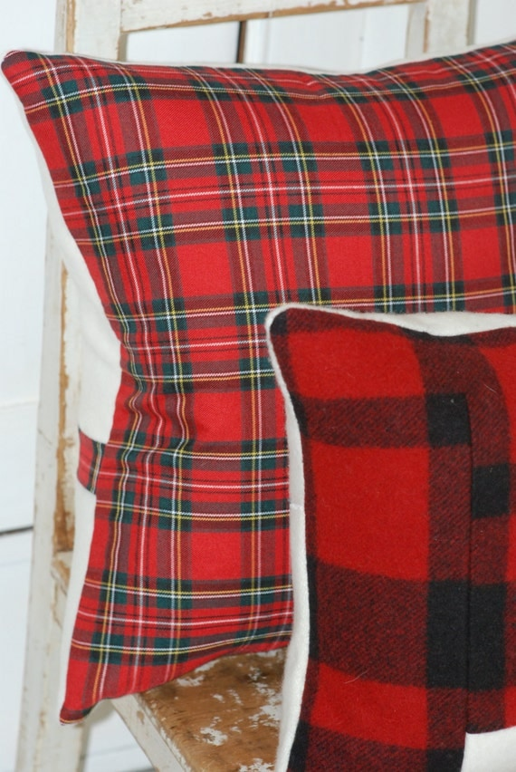 Red Plaid Throw Pillow Cover : Plaid Pillow Cover Decorative Pillows Throw by KenilworthPlace