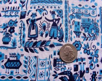 Vintage Feed Sack Novelty Cotton Fabric -   BLUE Horses, Birds, Houses, People on Creamy White Background  - 16 x 20