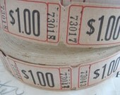 50 vintage tickets, white tickets, one dollar, carnival tickets, old tickets, scrapbooking, craft supplies,