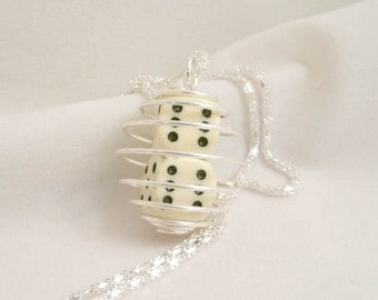 White Pair of Dice Necklace Cage Spiral Necklace