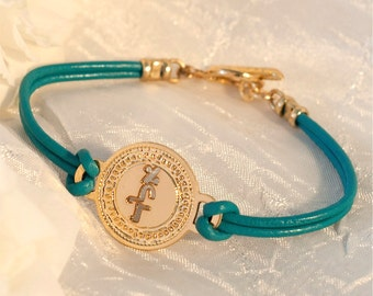 Kabbalah bracelet - Gold coin on Light Turquoise leather, Gold bracelet, Leather bracelet, Hebrew jewelry, Micro Macrame, Jewish