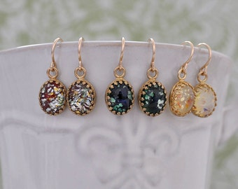 COLORFUL OPAL EARRINGS  vintage opal color glass cab earrings gold filled
