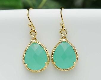 Bridal Earrings Bridesmaid Earrings Mint Opal Gold Trimmed Pear Cut Drop Earrings - Dangle Earrings