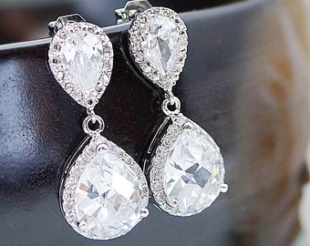 Cubic Zirconia Wedding Earrings Bridal Earrings Bridesmaid Earrings Bridal Jewelry LUX Cubic Zirconia Tear drops Earrings (E-B-0006)
