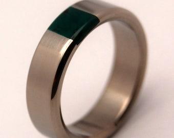 Titanium and Jade Wedding Band, Mens Ring, Womens Ring, Unique Wedding Rings, Eco-Friendly Wedding Rings - ARRANT JADE