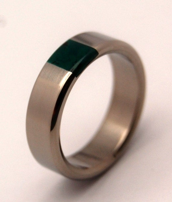 Titanium and jade wedding band mens ring womens ring unique for Jade wedding ring