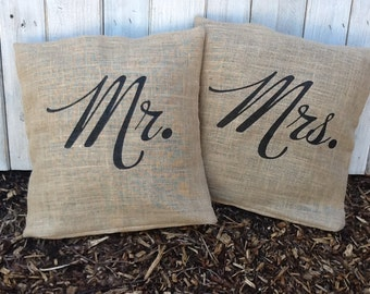 TWO Mr. or Mrs. Eco Throw Pillow Covers, Handmade from a Recycled Coffee Sack CC