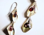 Earrings Sterling Silver Garnet Calla Lily 3 Tier Cascade Pierced Articulated