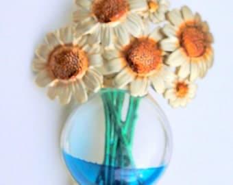 SALE Jelly Belly Flower Vase Sun Flower Daisy Brooch Pin