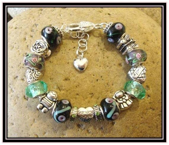 Grandma Bracelet  -  Black & Green and Pink European Style
