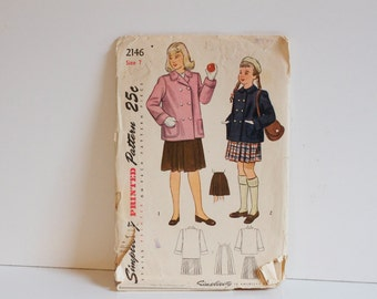 Vintage 1940s Simplicity Girls Coat and Skirt Pattern 2146 size 7