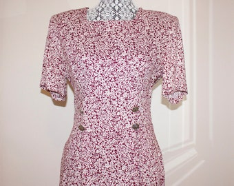 Vintage 1980s Floral Dress - Burgundy and White