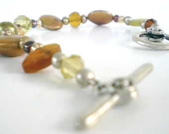 Bracelet Golden Amber Coin Pearl, glass crystal