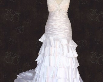 Retro Hollywood V Neck Tiered Wedding Gown