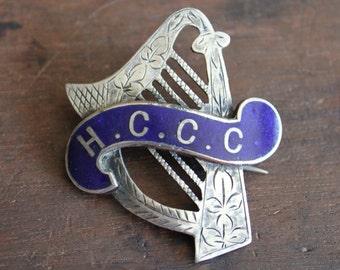 Large Victorian Silver Enamel Harp Brooch / H.C.C.C.