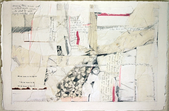 Shakespeare Sonnet 29- Original White Mixed Media Collage, Poetry Art, Thy Sweet Love Remembered