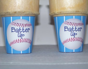 Baseball Theme Batter Up Ice Cream Cone Wrapper Printable DIY INSTANT DOWNLOAD