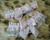 Light Pink White Wedding Bridal Garter Toss Set