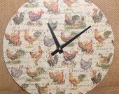 10 Inch Wall Clock, Rooster Clock, Record Clock, Kitchen Clock - No. 1034
