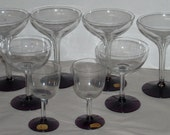 Fostoria Classic Glass Stems Wines Hollow Champagnes Clear with Amethyst Purple Bases