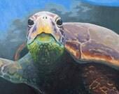 Sea Turtle Painting Print 8x10 - Turtle Painting