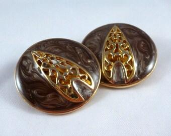 Vintage, Golden/Mauve Circle ClipOns : C100