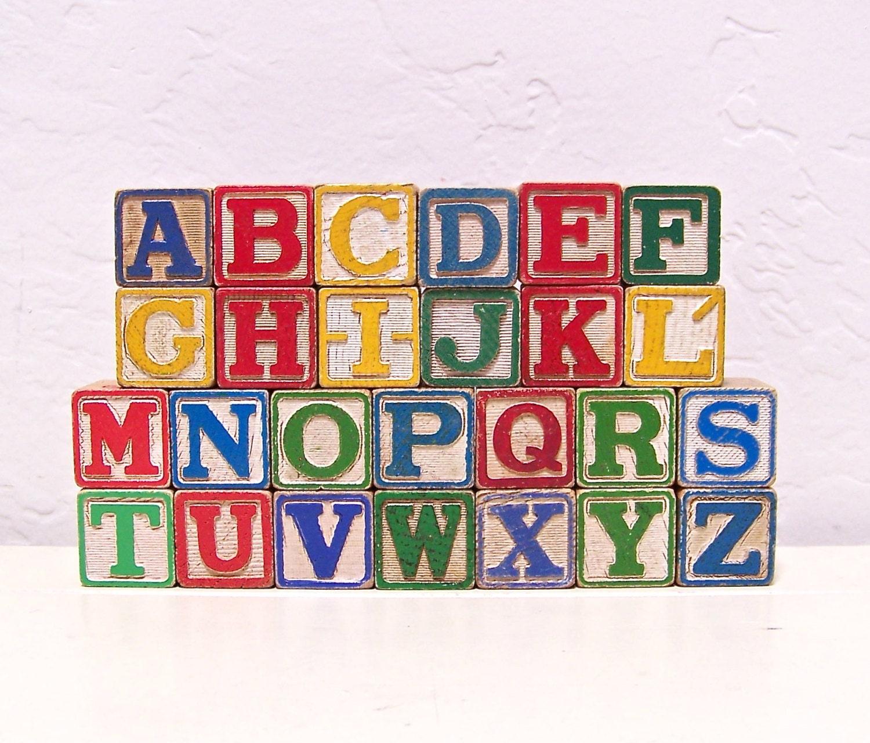 Vintage wooden blocks complete alphabet by vintagebyalexkeller - Alphabet complet ...