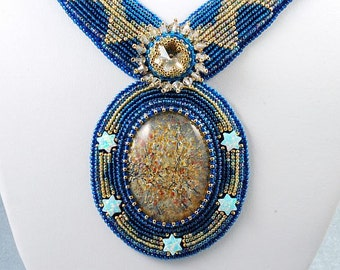 Southern Night Necklace - Gold Dichroic Glass, Opal Star Beads, Bead Embroidery Necklace, OOAK