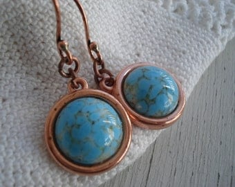 Vintage Turquoise Glass and Copper Dangle Earrings