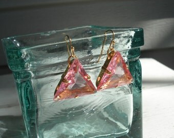 SALE Vintage Art Deco Czech Faceted Crystal Glass Triangle Gold Earrings Pyramid