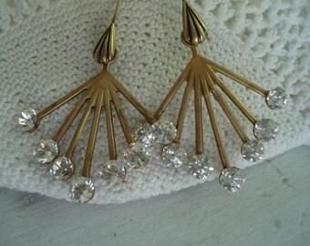 Vintage 1920s Art Deco Starburst Glass Rhinestones Earrings Gold Dangles