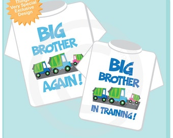 Personalized Set of 2 Big Brother Again Garbage Truck and Big Brother in Training Tee Shirts or Onesies, with baby girl truck (02052014b)
