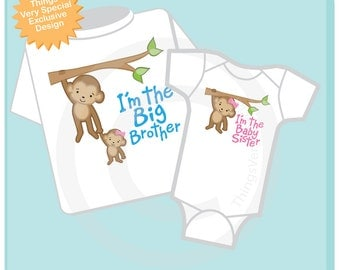I'm the Big Brother and I'm the Baby Sister set of 2, Sibling Shirt and Onesie set (05232013a)