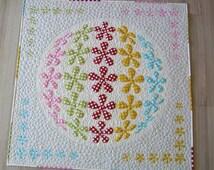 Easy Applique Quilt pattern- modern flower power quilt pattern