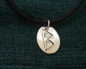 Berkano Rune Fine Silver Pendant
